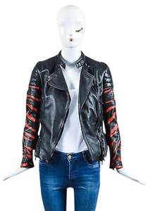3.1 Phillip Lim Red Leather Tiger Striped Quilted Moto 0 Motorcycle Jacket