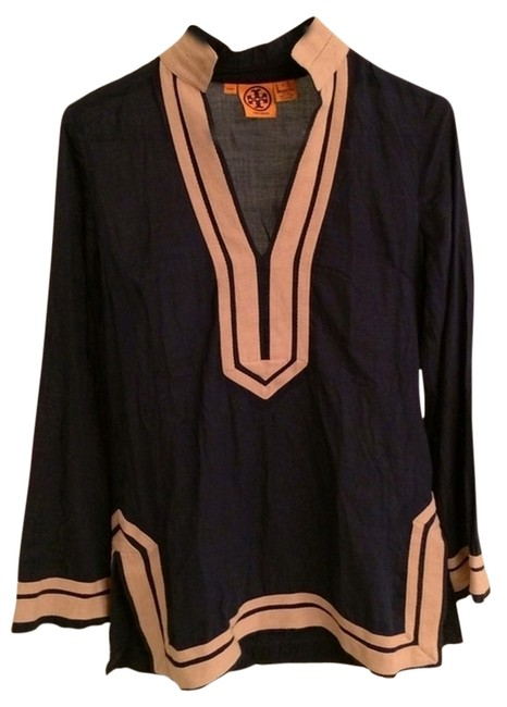 3b448953f1175 tory burch navy blue and tan trim price reduced elegant sophisticated tunic  blouse s... TRADESY