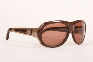 Chloé Chloe Brown Gold Tone Plastic Metal Cl 2120 Oval Sunglasses