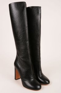 Rochas Black Pebbled Leather Knee High Stacked Heel Boots