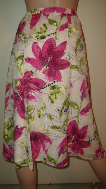 Chico's Skirt white with pink, lime floral