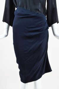 Lanvin Navy Stretch Knit Ruched Side Zip Knee Length Skirt Blue