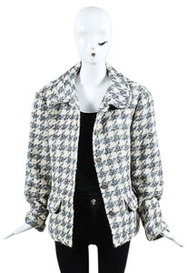 Chanel Boutique Cream Gray Black Wool Woven Knit Herringbone Long Sleeve Multi-Color Jacket