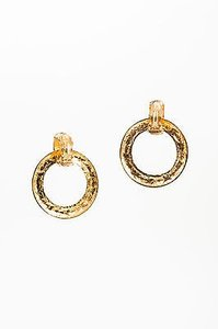 Chanel Vintage Chanel Gold Tone Quilted Convertible Drop Hoop Clip On Earrings