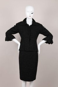 Ikito Ikito Black Wool Sparkle Jacketskirt Suit Set