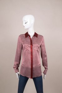 10 Crosby Derek Lam Dark Redwhite Check Print Silk Long Sleeve Top
