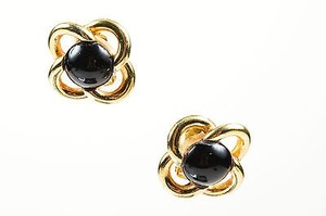 Dior Vintage Christian Dior Gold Tone Black Enamel Quatrefoil Clip On Earrings