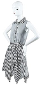 Gryphon short dress Gray White Stretch Cotton Striped Asymmetrical Sl Shirt on Tradesy