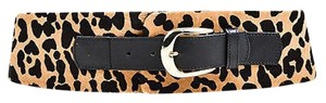 Temperley London Temperley London Black Tan Leather Pony Hair Leopard Print Wide Belt