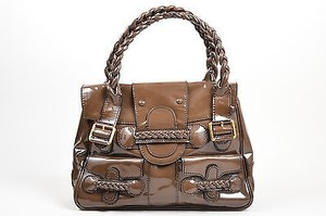 Valentino Histoire Patent Leather Satchel in Brown