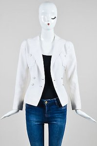 Chanel Boutique 97c Cotton Textured Double Breasted White Jacket