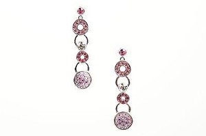 Givenchy Givenchy Silver Tone Pink Rhinestone Crystal Circle Link Drop Earrings