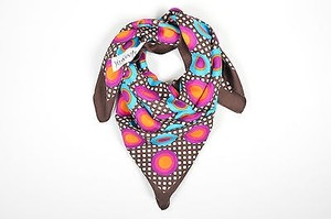 Saint Laurent Yves Saint Laurent Brown Multicolor Circle Geometric Silk Square Scarf