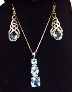 Michael C Fina Aquamarine Necklace with diamond accents and dangle earrings