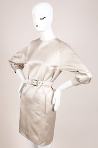 Michael Kors Beige Silk Satin Button Back Long Sleeve Belted Dress