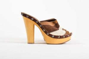 Miu Miu Brown White Suede Multi-Color Mules