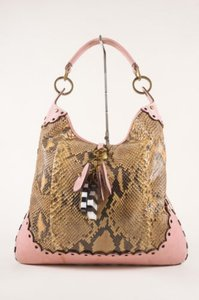 Luella Taupe Pink Python Leather Dangling Charm Shoulder Bag