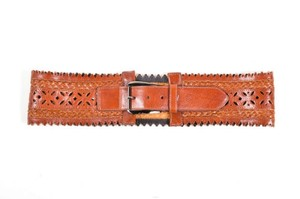 Oscar de la Renta Oscar De La Renta Brown Leather Cut Out Belt