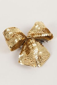 Chanel Chanel Gold Sequin Embellished Oversize Hair Bow