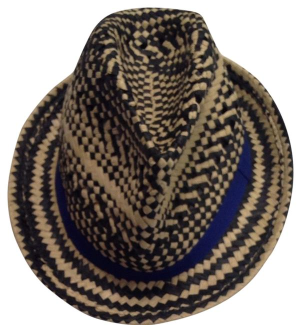 Item - Blue/Black/Tan Striped Fedora Hat