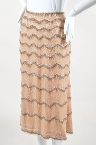 Escada Silk Sequin Skirt Beige