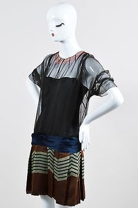 Prada short dress Multi-Color Brown Black Green Silk Striped Pleated Sheer With Slip on Tradesy