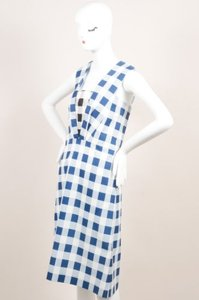 Derek Lam short dress Blue White Checkered Plaid Silk Blend Sleeveless on Tradesy