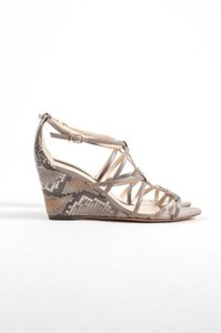 Alexandre Birman Gray Leather Snakeskin Strappy Wedges Taupe Sandals