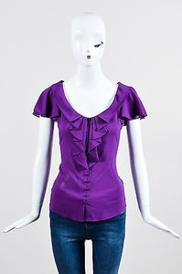 Zac Posen Bright Silk Top Purple