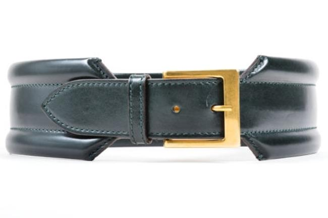 Item - Alexander Mcqueen Forest Green Leather Traditional Wide Belt 75