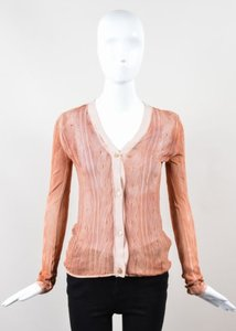 Bottega Veneta Peach Rust Red Fine Knit Ls V Neck Cardigan Sweater