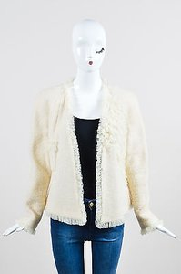 Chanel 02c Cream Wool Tweed Silk Ruffle Detail Ls V Neck Blazer Beige Jacket