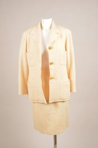Chanel Vintage Chanel Pale Yellow Knit Skirt Suit