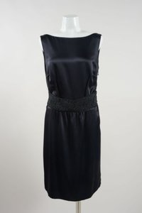 Peter Som Black Silk Beaded Waist Sleeveless Draped Back Dress