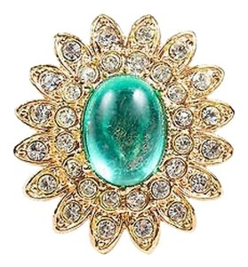 Vintage Dimend Scaasi Gold Tone Green Glass Stone Rhinestone Flower Ring