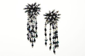 Vintage Gold Tone Black Iridescent Beaded Starburst Fringe Drop Clip On Earrings