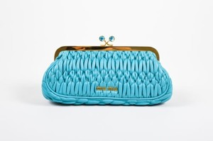 Miu Miu Teal Matelasse Leather Textured Quilted Rhinestone Blue Clutch