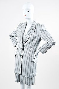 Dior Christian Dior Light Gray Black Stripe Long Sleeve Jacket Skirt Suit Set