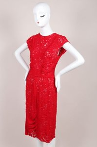 Nina Ricci Red Floral Lace Dress