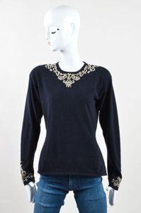 Donna Karan Navy Cashmere Faux Pearl Beaded Ls Crew Neck Knit Sweater