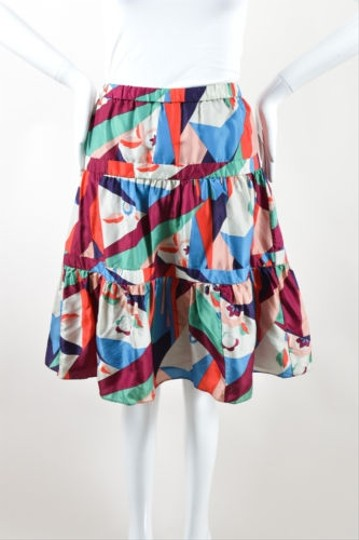 641d89d6091b2 Marc Jacobs Multicolor Satin Geometric Floral Print A Line Skirt  well-wreapped