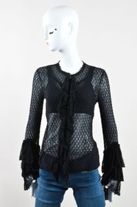 Alexander McQueen Semi Sheer Loose Knit Layered Ruffle Ls Cardigan Sweater
