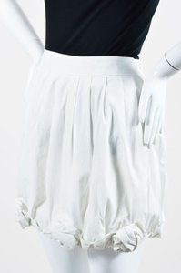 Moschino Pleated Floral Mini Skirt White