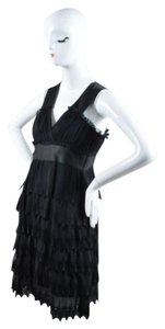 Narciso Rodriguez Chiffon Satin Silk Tiered Embroidered Dress