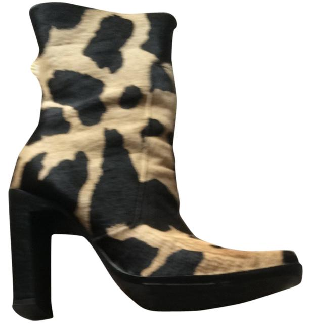 Item - Leopard Tan and Brown Real Calfskin Boots/Booties Size US 9