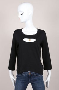 Chanel Black Front Cut Out Top