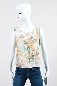 Escada Light Brown Teal Silk Top Multi-Color