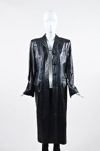 Richard Tyler Leather Button Up Full Length Long Sleeve Trench Trench Coat