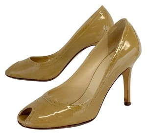 Kate Spade Tan Patent Leather Peep Toe Pumps