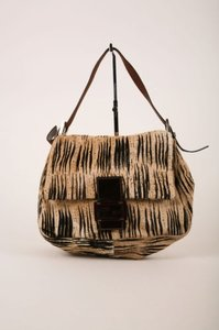 Fendi Tanblack Animal Stripe Shoulder Bag